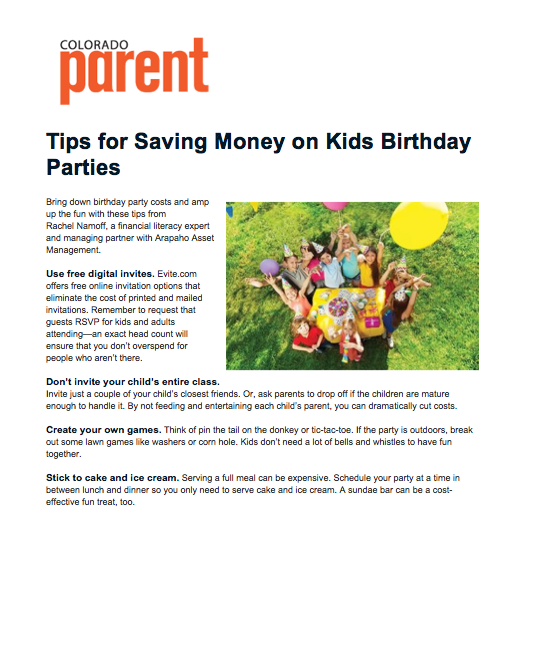 Colorado Parent Kids Birthday Party Tips