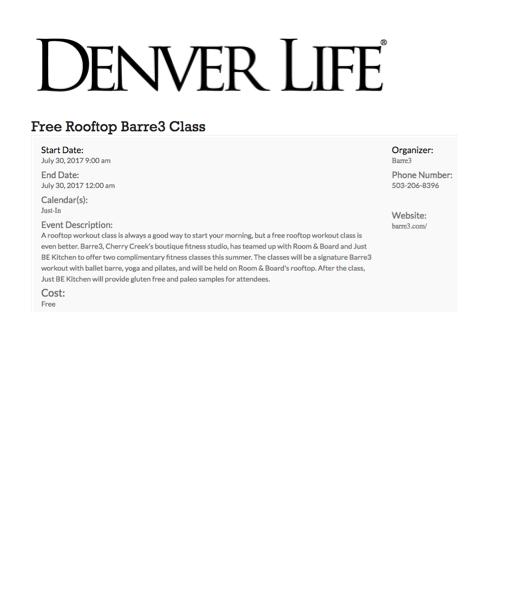 Denver Life Magazine Rooftop Class