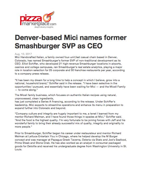 Pizza Marketplace CEO Announcement