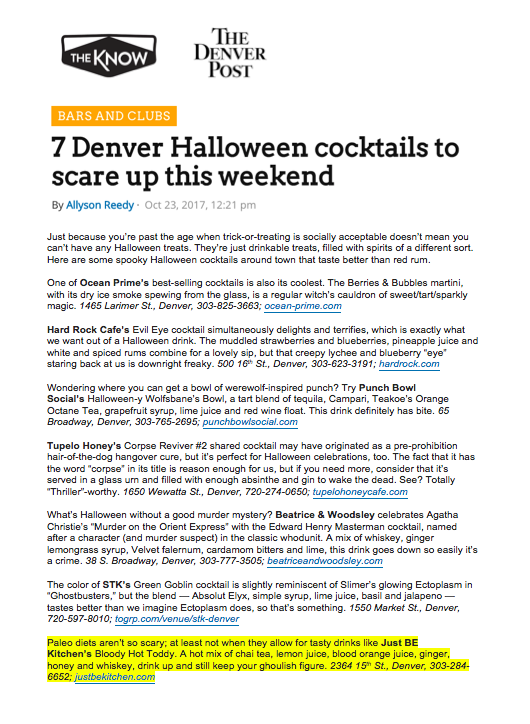 Denver Post Halloween Cocktails