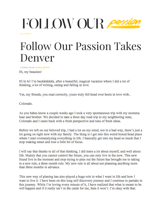 Follow Our Passion: Denver