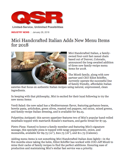 QSR Magazine New Menu Items