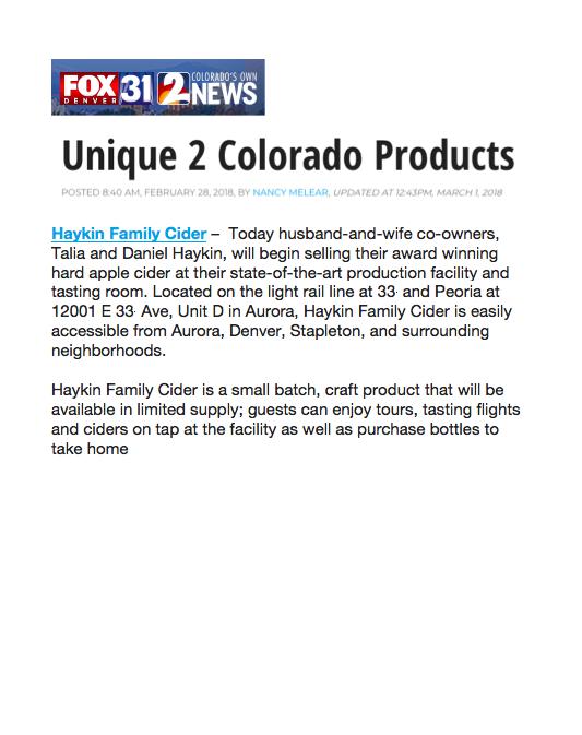 Unique 2 Colorado Web Feature