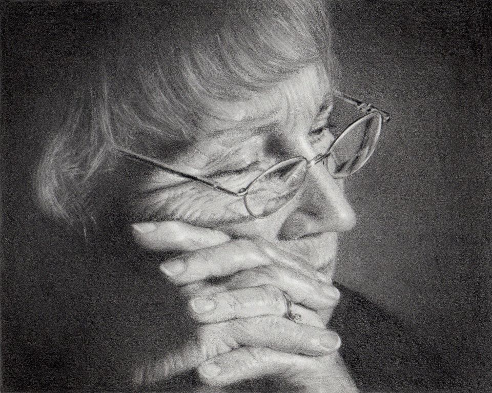 Portrait of Ginny Winston in graphite and charcoal, by her daughter,  Charlene M. Brown Fine Art