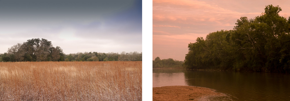 Privately owned native prairie and conservation easement in Fayette County (left) and Colorado River Refuge Preserve in Bastrop which is open to the public daily (right).