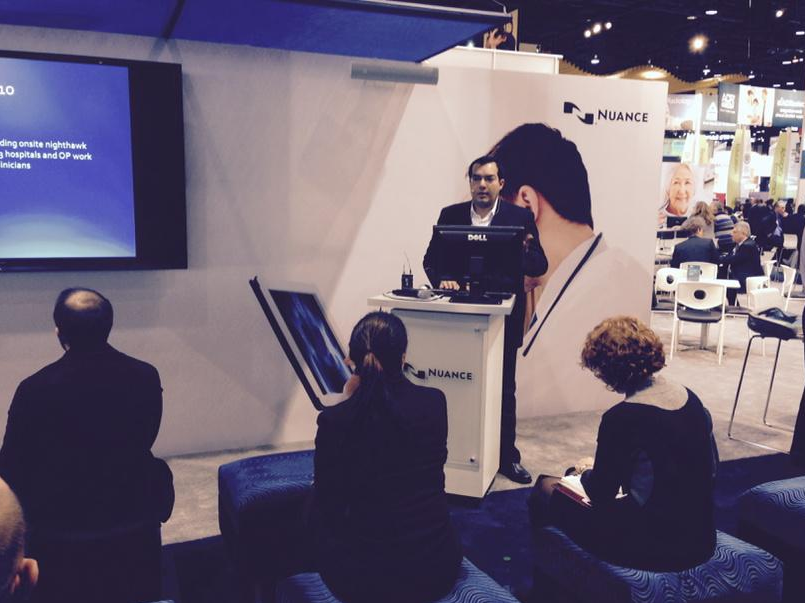 Dr. Zaidi speaking on Co-Management at the Nuance Booth