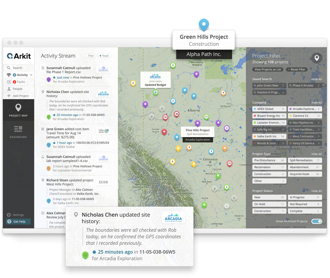 The Arkit project map helps organize, plan and manage energy projects.