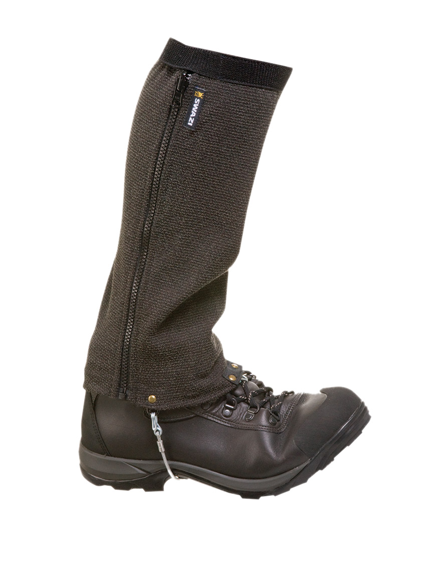 Swazi Ali-Gaiters  ,  $150    New Zealand based Swazi has come up with what might be the worlds toughest gaiters. Their stylish Ali-Gaiters, which are optimized for work in the snow, feature stainless steel boot ties and Kevlar impregnated polyester.  Swazi