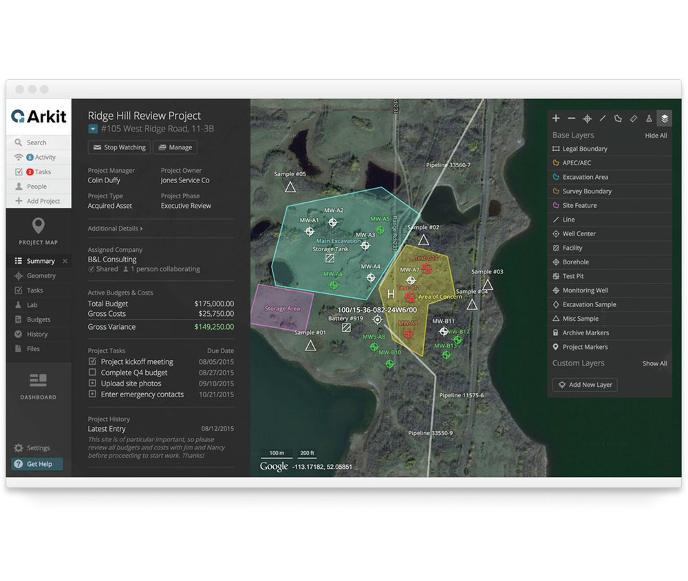 The Project Summary provides quick access to essential information, presented alongside an interactive Site Map.