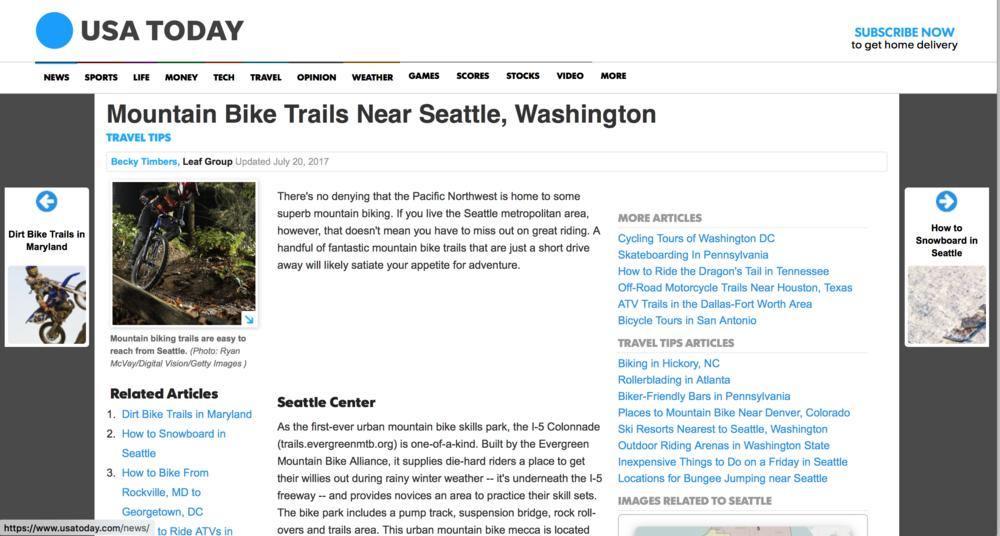Mountain Bike Trail Near Seattle, Washington