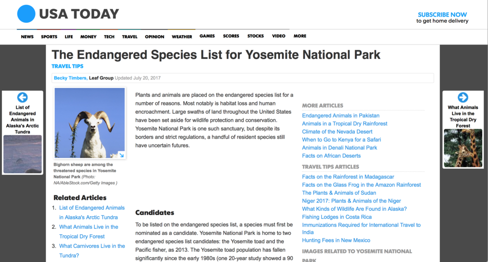 The Endangered Species List for Yosemite National Park