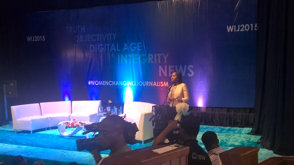 Ms. Ijeoma Nwogwugwu addressing the crowd on The Decline of Investigative Journalism