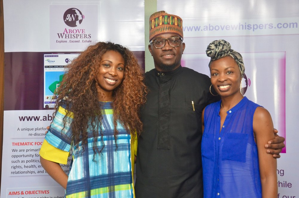 With fellow guests of Above Whispers on Air on WFM 91.7FM, Bolanle Olukanni (L) & Ope Oriniowo (Middle)