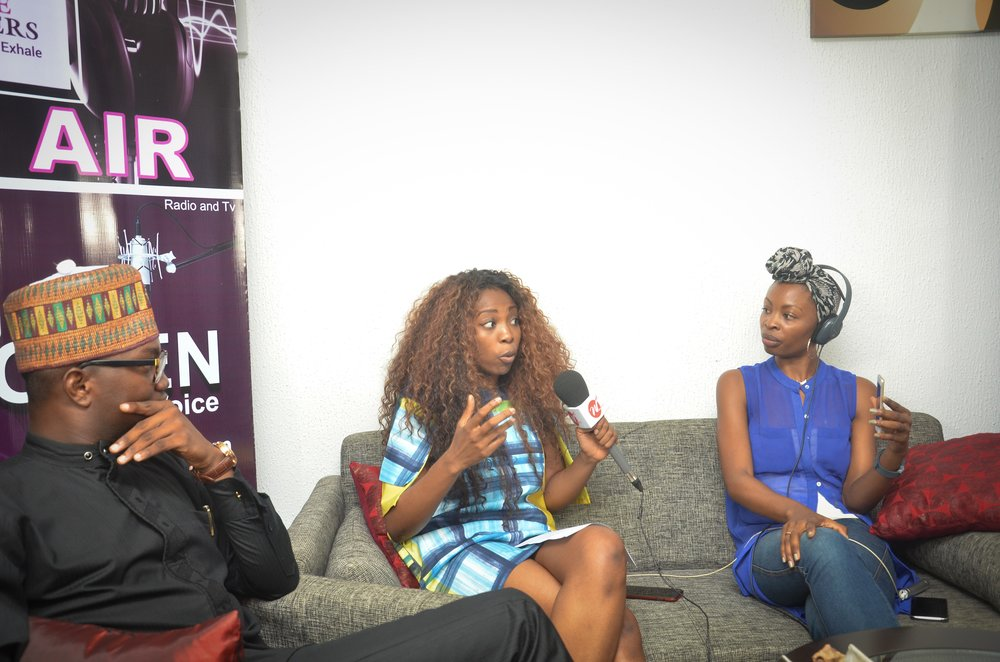 (L-R) Ope Oriniowo, Bolanle Olukanni and I on Above Whispers on Air on WFM 91.7FM