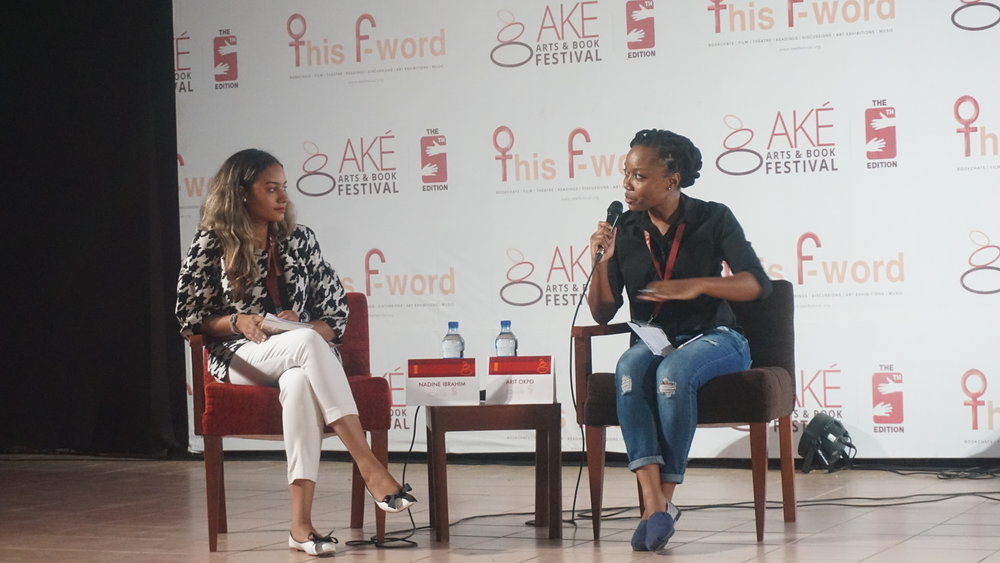 """Arit Okpo with Nadine Ibrahim, director """"Through her eyes"""" about a child suicide bomber"""
