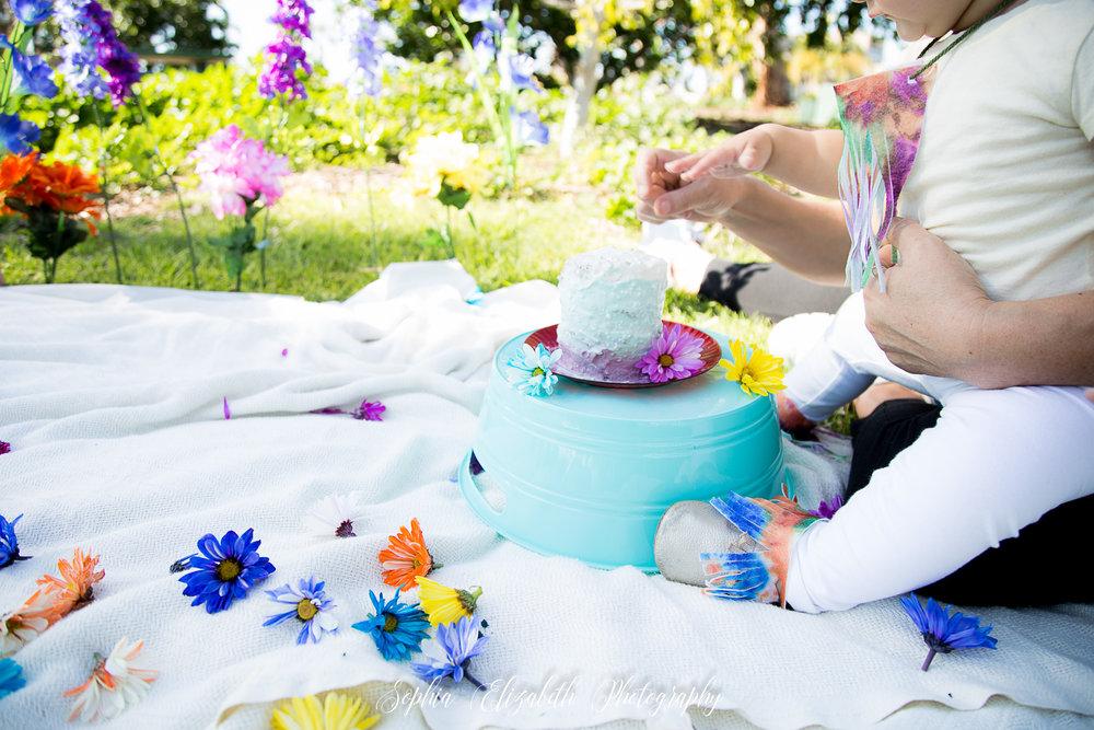 grandmother-baby-san-diego-cake-smash-boho-flowers-turquoise-purple-theme