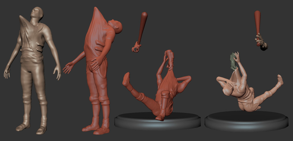 For part of the sculpting process the two characters were sculpted separately to manage polygon counts and memory usage.