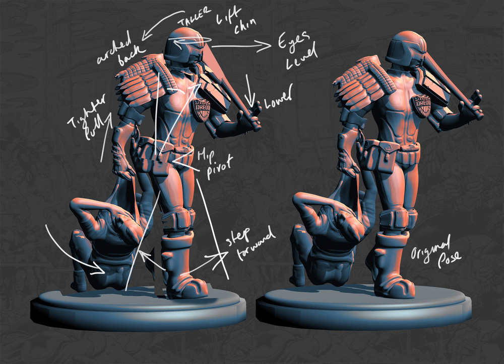 Close to sculpting completion I output some renders to share with the CGI community. I used this opportunity to strengthen the pose. In the above image I quickly hacked pieces on the left in Photoshop to aim for a more determined look with Dredd's head lifted, a mid-stride pose with forward momentum and a tighter pull on the thug.