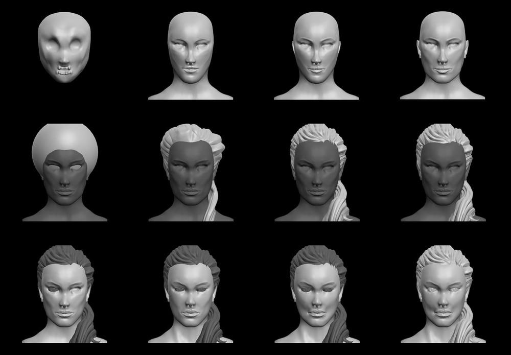 Snapshots of the sculpt in progress.