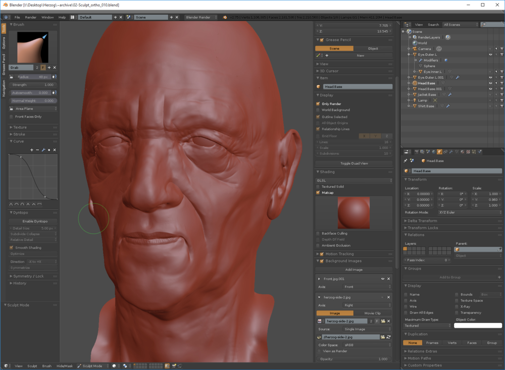 Symmetrical Dynamic Topology sculpting in Blender.