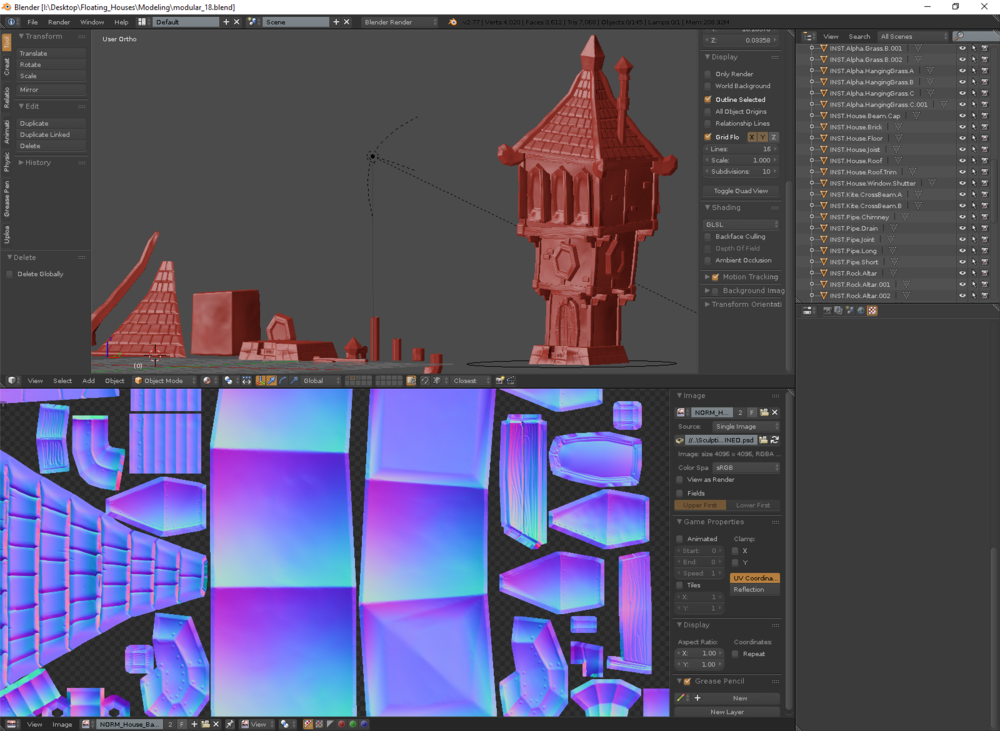 Assigning baked normal maps to low poly meshes in Blender.