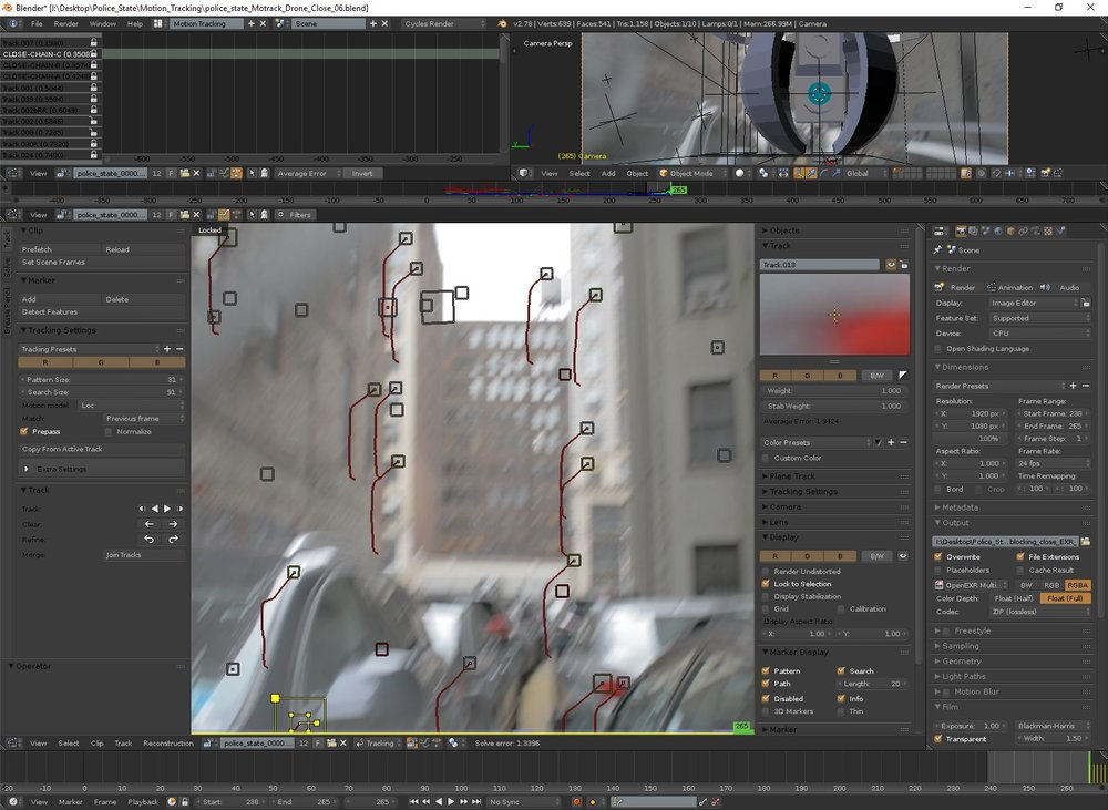 Motion tracking heavily blurred footage by hand.