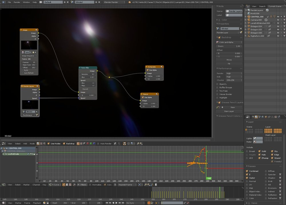 Generating camera flares back in Blender for later compositing in Nuke.