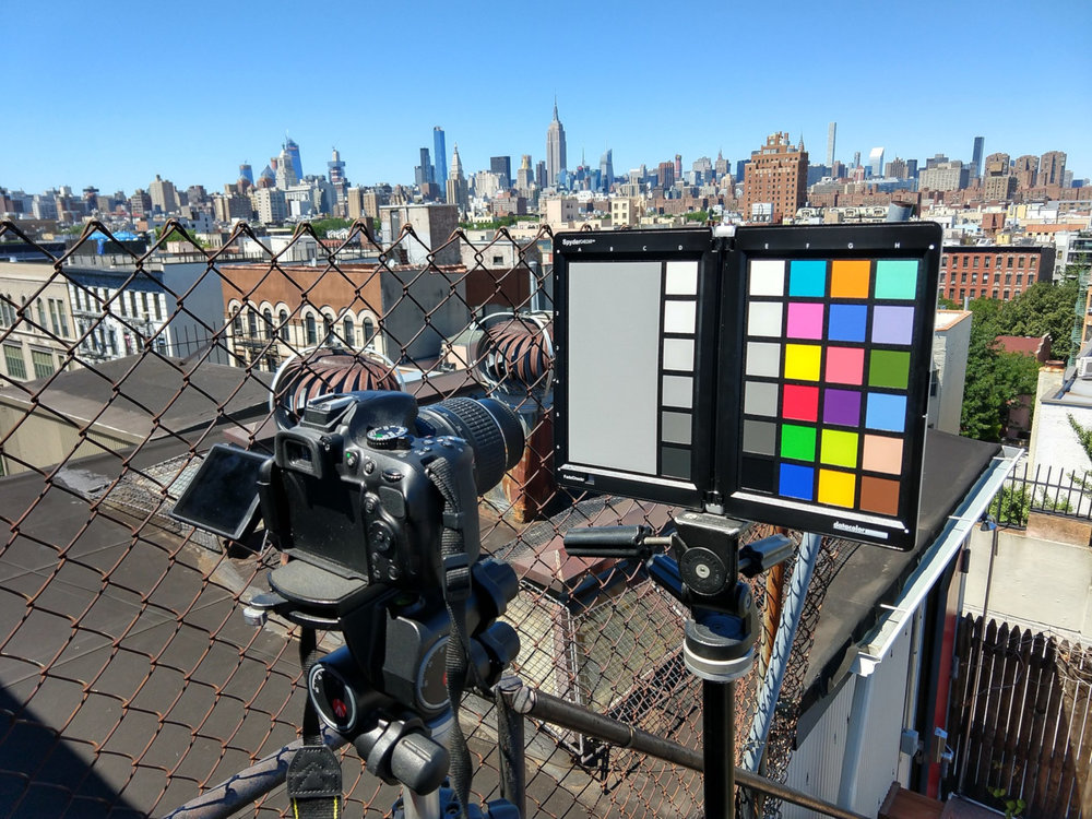 Setting up on the roof of my apartment building near the elevator bulkhead let me get the color checker in direct sunlight while keeping me and camera in the shade.