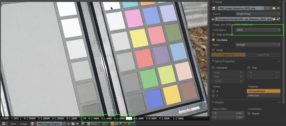 The CM (Color Managed) RGB values max out at 1,1,1 when sampling the color chart's white patch. A clear indication we're in Display Referred Space.