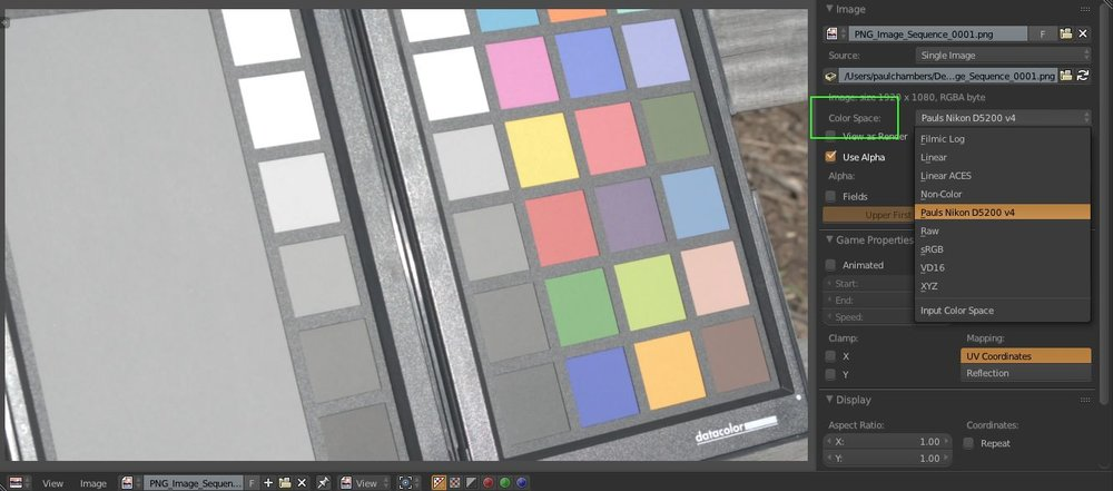 "The color space selection drop down is accessible on a per image basis in the ""N"" drawer of the UV/Image Editor window."