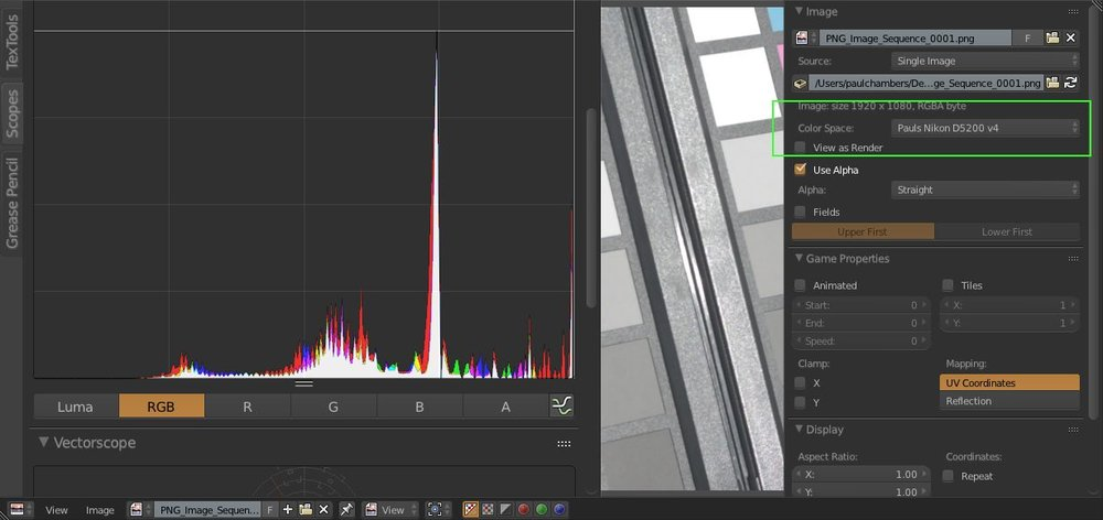 "A visible ""combing"" appears in the histogram as our custom Color Transform extrapolates the values across a wider range."