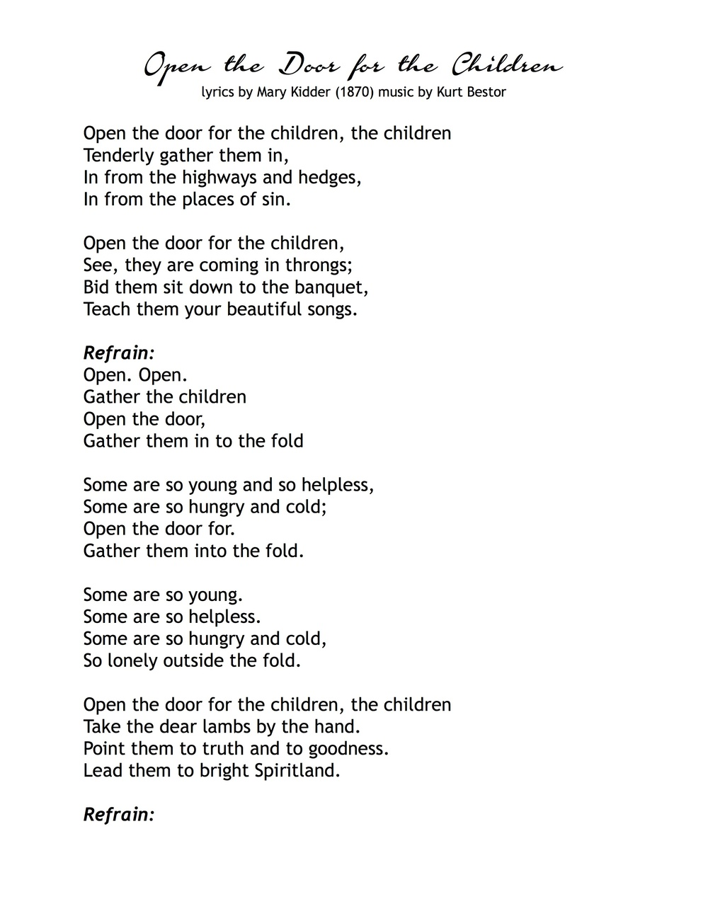 Open the Door for the Children  sc 1 st  Kurt Bestor : lyrics door - pezcame.com