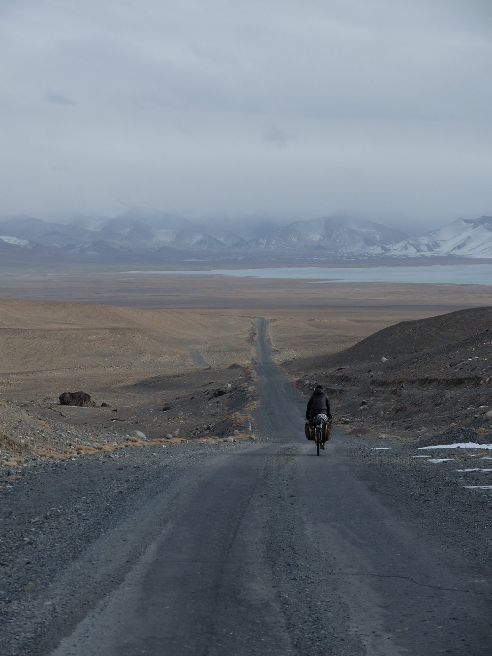 Descending towards Karakul after a long day