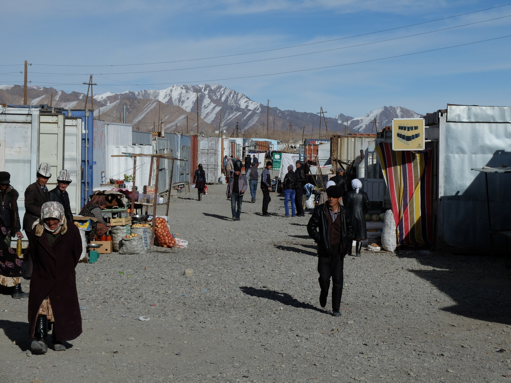 Shipping container bazaar in Murghab