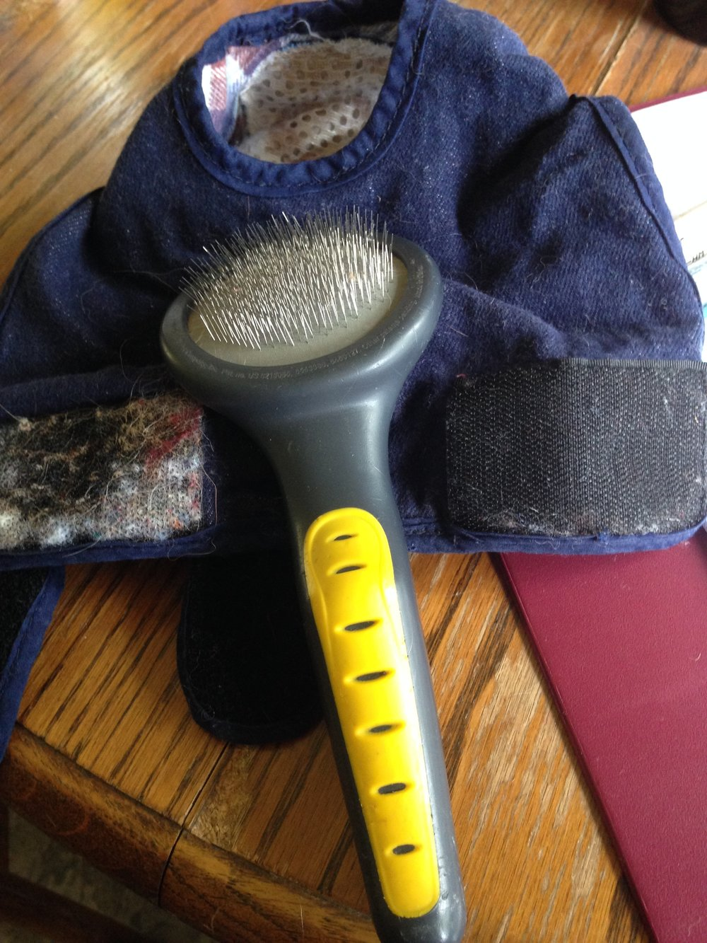 To clean velcro, try a slicker brush used on dogs and cats.