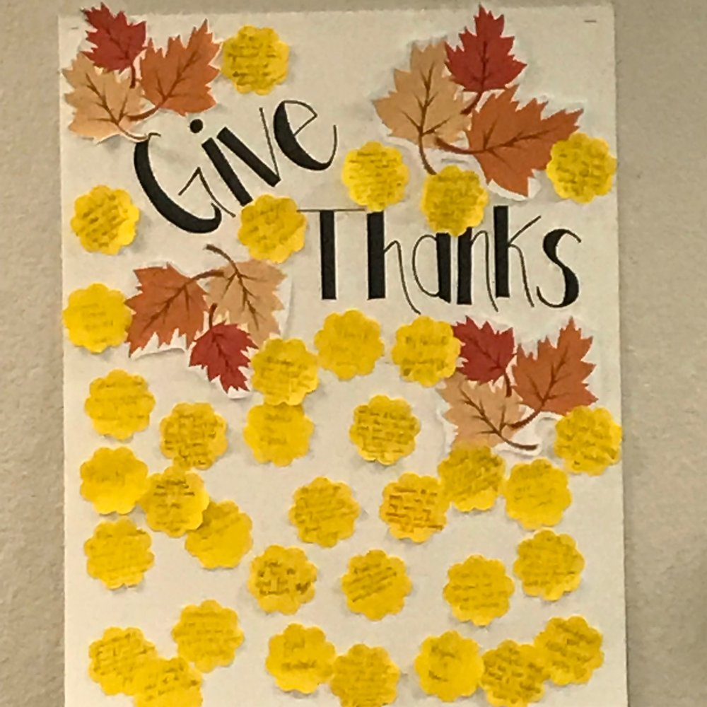 During the month of November, we asked our patient to write down the things that they were thankful for in reminding us all to have gratitude. Such a great way for those simple reminders!