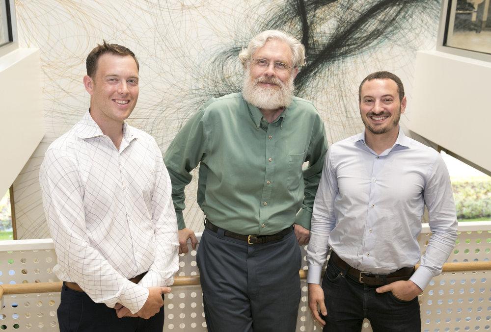 Photo courtesy of GRObio:Christopher Gregg, Chief Scientific Officer, George Church, Co-founder and Head of Scientific Advisory Board, Daniel J. Mandell, CEO