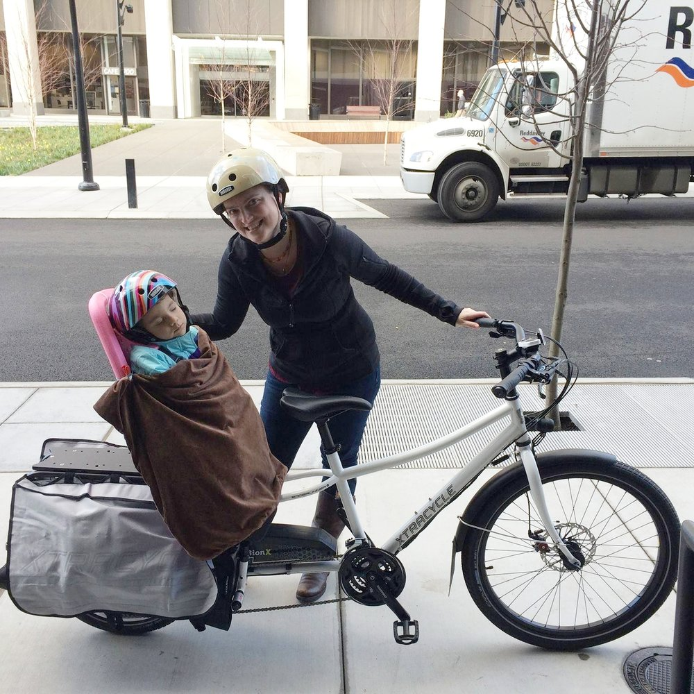 Carrie when she got her new cargo bike!