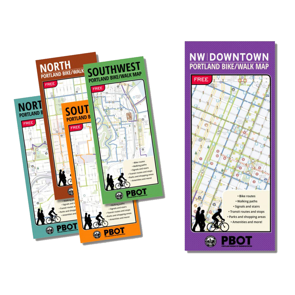 Portland Bike + Walk Maps  North Northeast Northwest Southeast Southwest