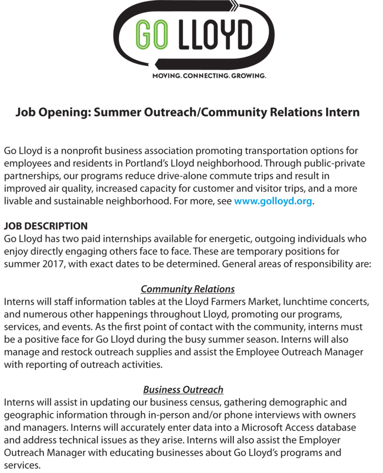 Job Opening: Summer Outreach/Community Relations Internship — Go Lloyd
