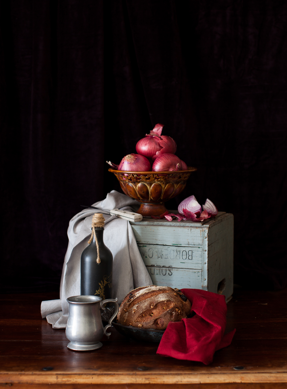 Still Life with Bread & Red Onions 2012