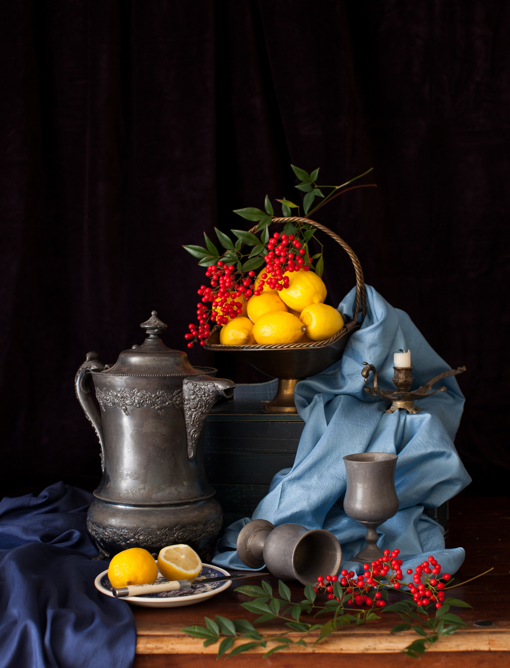 Lemons & Red Berries Still Life 2013