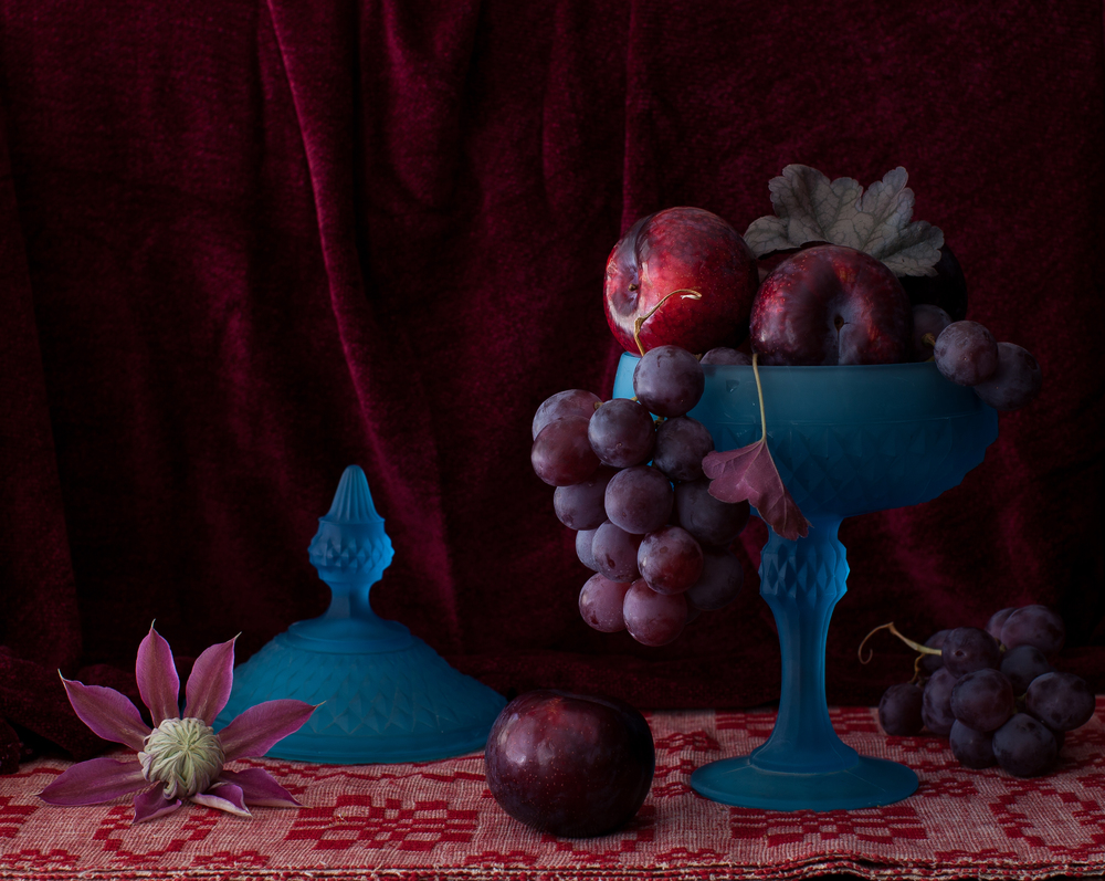 Blue Vase with Plums & Grapes Still Life 2012