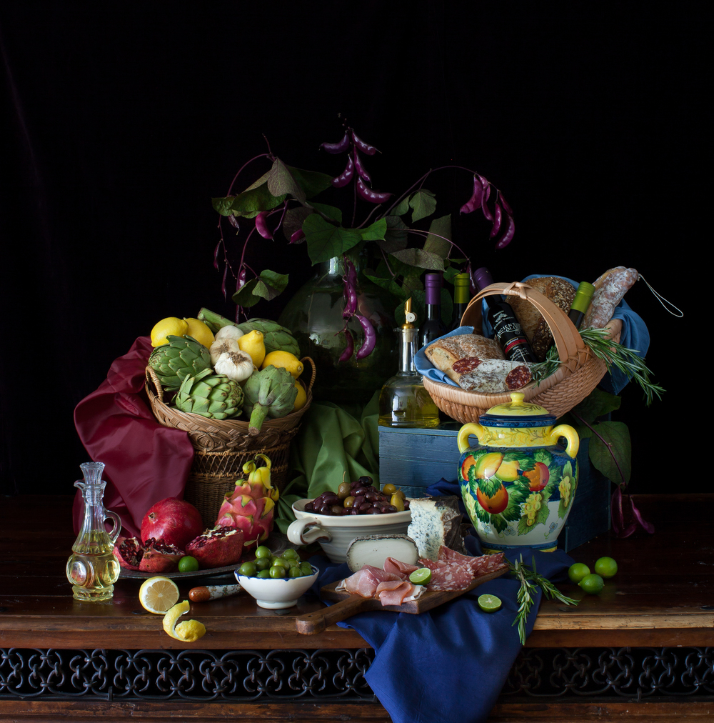 Still Life with Olives & Exotic Fruits (1) 2014