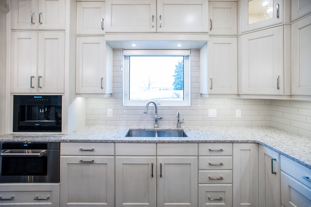 white cabinetry kitchen reno traditional