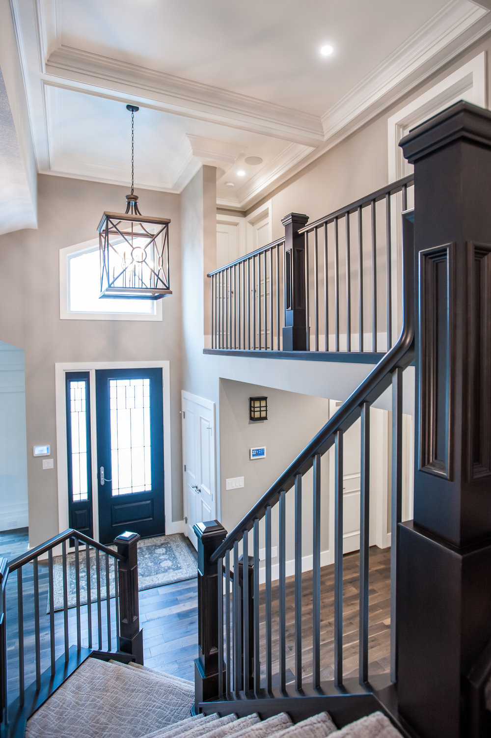 stair railing coffered ceiling