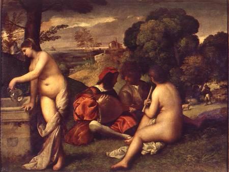 Concert Champetre, oil on canvas, 105 x 136.5 cm, c. 1510