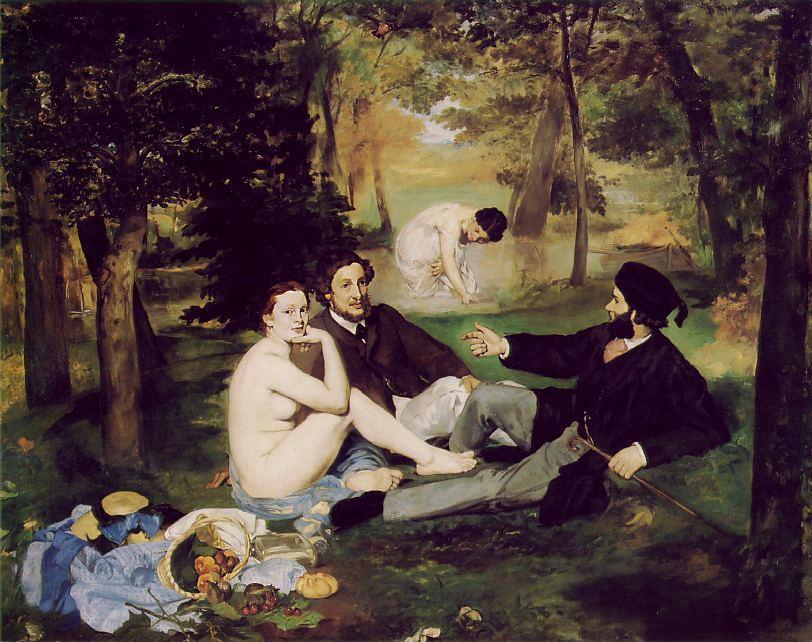"""Le Dejeuner sur l'herbe, oil on canvas, 81.9"""" x 104.5"""", 1863"""