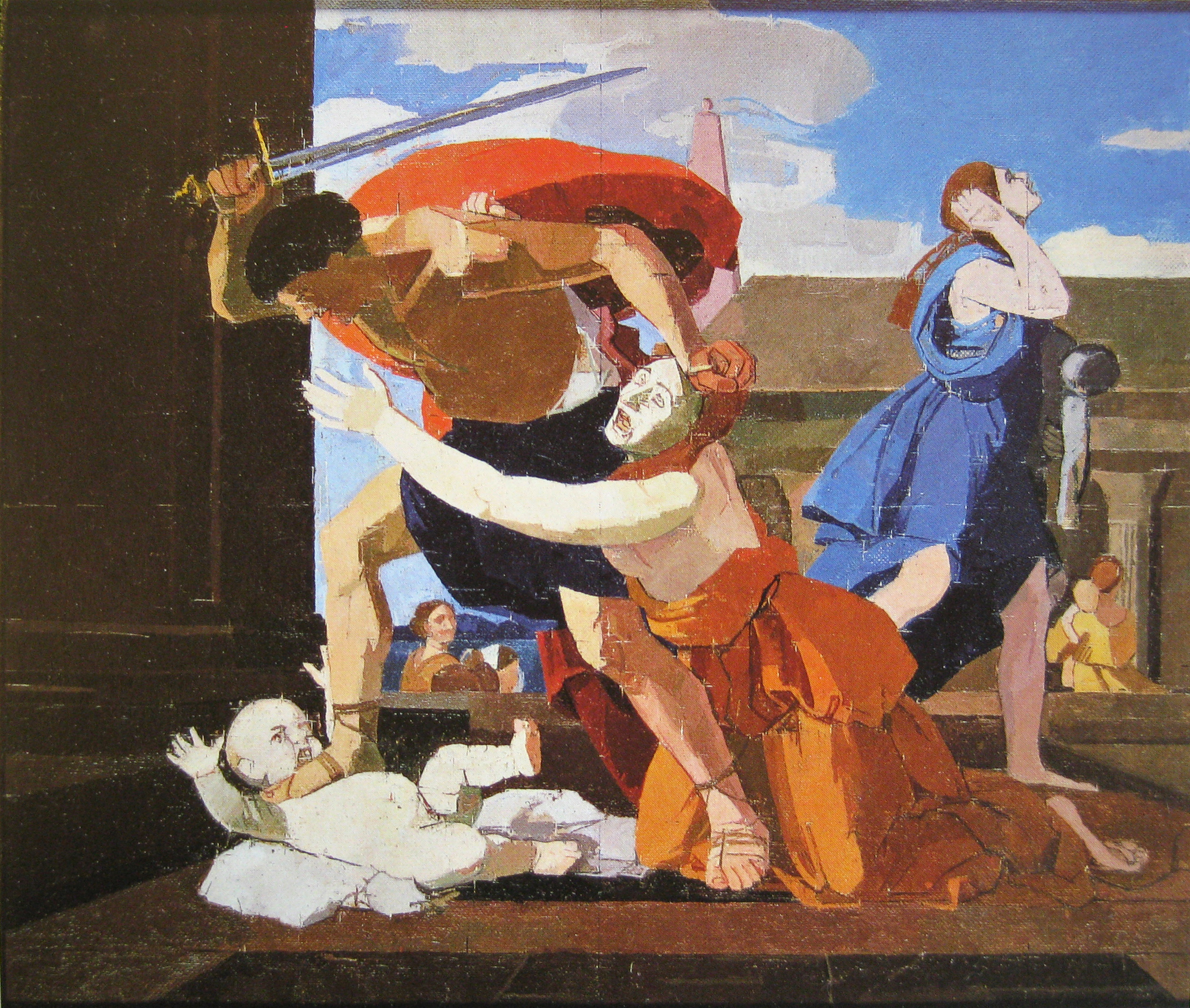 "The Massacre of the Innocents (after Poussin), oil on canvas laid on panel, 16.25"" x 19.25"", 1979-81"