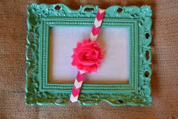 Infant/Children's Headband - Hot Pink, White & Gold Arrows w/ Shabby Hot Pink Flower ($8)